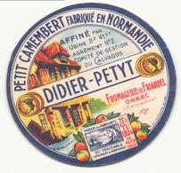 Etiquette à Fromage Petit Camembert Didier Petyt Orbec Calvados ( Petit Format ) - Formaggio