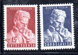 YUG76A - YUGOSLAVIA 1953,  Unificato N. 625/626   Nuovi  ***  TESLA - 1945-1992 Repubblica Socialista Federale Di Jugoslavia