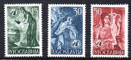 YUG76D - YUGOSLAVIA 1953,  Unificato N. 627/629   Nuovi  ***  ONU - 1945-1992 Repubblica Socialista Federale Di Jugoslavia