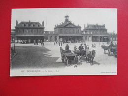 CPA 59 DUNKERQUE LA GARE CALECHES - Dunkerque