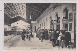 Cpa B23   LE MANS - Intérieur De La Gare-rails-belle Animation-cachet Commission Militaire Au Dos - Le Mans