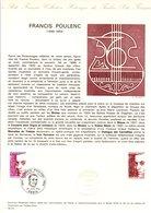 1974 DOCUMENT FDC MUSIQUE FRANCIS POULENC - Documenten Van De Post
