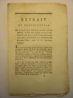 EXTRAIT PROCES VERBAL 1795 CONVENTION NATIONALE - GRASVELD SITTER HOLLANDE PROVINCES UNIES DES PAYS BAS TRAITE DE PAIX - Decrees & Laws