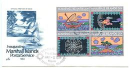 Marshall Islands 1984 Scott 34a FDC Inauguration Of Postal Independence - Marshall Islands