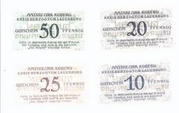 Notgeld - Koberg , Lauenburg , Schleswig Holstein , 10+20 - 25+50 Pfg.  Komplett - 3 Scheine   - NG-058 - Lokale Ausgaben