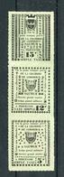 !!! GREVE DE SAUMUR 1953 BANDE DE 3 DES VIGNETTES DE LA CHAMBRE DE COMMERCE DE SAUMUR - Strike Stamps