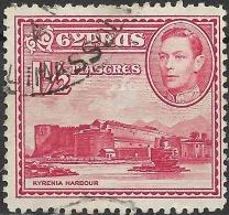 CYPRUS 1938 King George VI - Kyrenia Harbour - 1 1/2 Pi - Red FU - Zypern (...-1960)