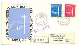 Vatican 1967 Scott 453-454 Registered FDC 3rd Congress Of Catholic Laymen - FDC