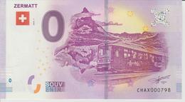 Billet Touristique 0 Euro Souvenir Suisse - Zermatt 2018-1 N°CHAX000798 - Private Proofs / Unofficial