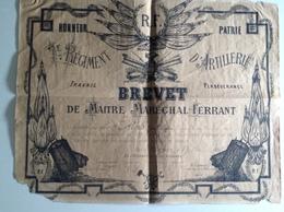Diplome - Rare Brevet De Maitre Marechal Ferrant - Rennes 1880 - 7éme Régiment Artillerie - Dim 50 X 40 Cm - Voir état - Diplômes & Bulletins Scolaires