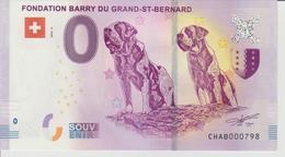 Billet Touristique 0 Euro Souvenir Suisse - Fondation Barry Du Grand-St-Bernard 2018-2 N°CHAB000798 - Private Proofs / Unofficial