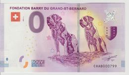 Billet Touristique 0 Euro Souvenir Suisse - Fondation Barry Du Grand-St-Bernard 2018-2 N°CHAB000799 - Private Proofs / Unofficial