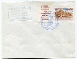 !!! GREVE DE LIBOURNE DE 1968 AVEC TAXE D'ACHEMINEMENT 1F - Poststempel (Briefe)