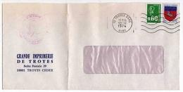 !!! LETTRE DE GREVE DE TROYES DE 1974 CACHET CHAMBRE DE COMMERCE - Poststempel (Briefe)