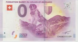 Billet Touristique 0 Euro Souvenir Suisse - Fondation Barry Du Grand-St-Bernard 2017-1 N°CHAB003339 - Private Proofs / Unofficial