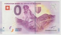 Billet Touristique 0 Euro Souvenir Suisse - Fondation Barry Du Grand-St-Bernard 2017-1 N°CHAB003340 - Private Proofs / Unofficial