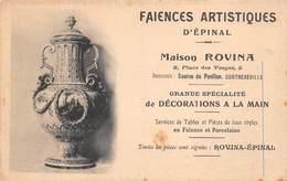 88 - Epinal - Faïences Artistiques - Grande Spécialité De Décoration à La Main - Maison Rovina - Epinal