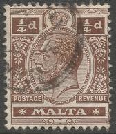 Malta. 1914-21 KGV. ¼d Used. Mult Crown CA W/M SG 69 - Malta