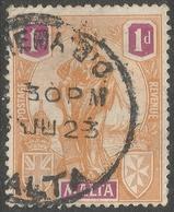 Malta. 1922-26 Britannia. 1d Orange & Violet Used. SG 125 - Malta