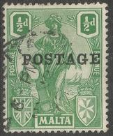 Malta. 1926 Postage O/P. ½d Used. SG 144 - Malta
