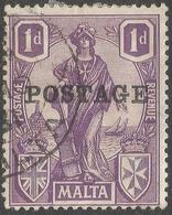 Malta. 1926 Postage O/P. 1d Used. SG 145 - Malta