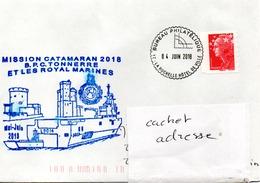 BPC TONNERRE Mission CATAMARAN 2018 Obl Bureau Philatélique La Rochelle Hotel De Ville 04/06/18 (légère Trace D'eau) - Poste Navale