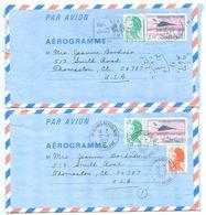France 1987 2 Concorde Aerogrammes Paris & Rennes-Republique To Thomaston, Connecticut - Postal Stamped Stationery