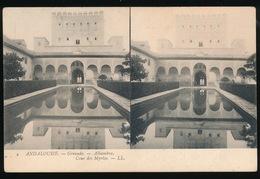 GRENADE = CARTE STEREO = ALHAMBRA , COUR DES MYRTES - Granada