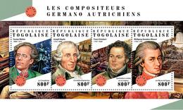 TOGO 2018 - G. Mahler, J. Haydn, F. Schubert, W.A. Mozart. Official Issue. - Musique