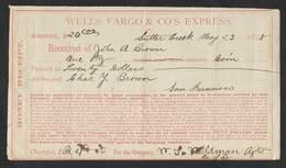 Etats Unis San Francisco Wells Fargo  Co. Express Cheque 1878 Money Receipt Check - Chèques & Chèques De Voyage