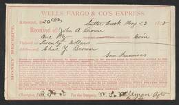 Etats Unis San Francisco Wells Fargo  Co. Express Cheque 1878 Money Receipt Check - Cheques & Traveler's Cheques