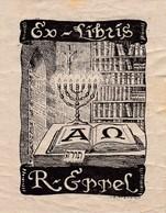 Ex - Libris  --  R.  ERREL   --  MENORAH  7  BRANCHES   --   Judaïca - Ex Libris