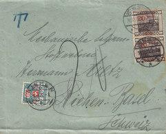 Saargebiet VÖLKLINGEN 1921 Cover Brief RIEHEN Basel Switzerland 2x 20c. Auf 50c. Aufdruck TAXE T-Cancel Postage Due - 1920-35 Saargebied -onder Volkenbond
