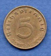 Allemagne - 5 Reichspfennig 1938 A  -  Km # 100  -- état  SUP - [ 4] 1933-1945 : Troisième Reich