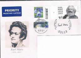 Bund, Auslandsbrief Karl Marx, Et-SSt. Bonn, Rückseite Ankunftsstempel - BRD