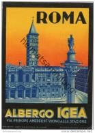 Roma - Albergo Igea - Via Principe Amedeo 97 - Hotel Sticker 8,5cm X 12cm - Hotel Labels