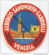 Venezia - Albergo Sandwirth-Gabrielli - Riva Degli Schiavoni J. Perkhofer - Hotel Sticker - Hotelaufkleber