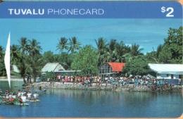 Tuvalu - GPT, OITIA, Village Scene, Funafuti, Palm-trees, Ports, 2$, 10.000ex, 7/95, Mint - Tuvalu