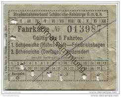 Fahrkarte - Schöneiche Kalkberge - Strassenbahnverband Schöneiche-Kalkberge GmbH - Fahrkarte Für 5 Fahrten - Schöneiche - Strassenbahnen