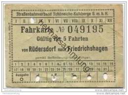 Schöneiche Kalkberge - Strassenbahnverband Schöneiche-Kalkberge GmbH - Fahrkarte Für 5 Fahrten - Von Rüdersdorf - Strassenbahnen