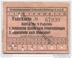 Schöneiche Kalkberge - Strassenbahnverband Schöneiche-Kalkberge GmbH - Fahrkarte Für 5 Fahrten - Strassenbahnen