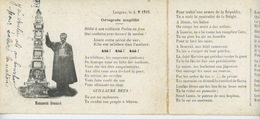 LANGRES - GUERRE 1914-18 - Carte Double Monument Bonnard Et Vers Dédiés Aux Poilus - Langres