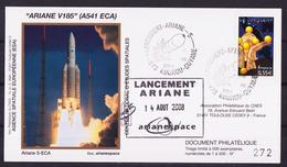 ESPACE - ARIANE Vol Du 2008/08 V185 - CNES - 4 Documents - FDC & Commémoratifs