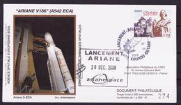 ESPACE - ARIANE Vol Du 2008/12 V186 - CNES - 4 Documents - FDC & Commémoratifs