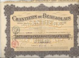 CHANTIERS DU BEAUJOLAIS - LOT DE 3 ACTIONS DE 100 FRS -ANNEE 1916 - Actions & Titres