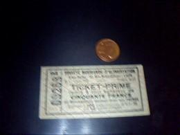 Ticket Bon Prime De 50 Francs  Societe Normande D Alimentaton A Caen - Non Classés