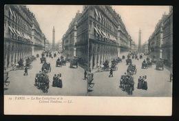 PARIS = CARTE STEREO =  LA RUE CASTIGLIONE ET LA COLONNE VENDOME - France