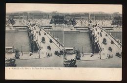 PARIS = CARTE STEREO =  LE PONT ET LA PLACE DE LA CONCORDE - France