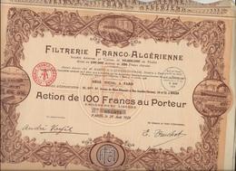 FILTRERIE FRANCO - ALGERIENNE -LOT DE 5 ACTIONS DE 100 FRS - ANNEE 1928 - Afrique