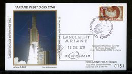 ESPACE - ARIANE Vol Du 2010/12 V199 - CNES - 4 Documents - FDC & Commémoratifs